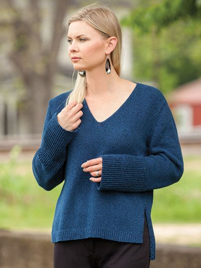 abadab5377ad5 ANNIE S SIGNATURE DESIGNS  Simple V-Neck Pullover Knit Pattern designed by  Lena Skvagerson for