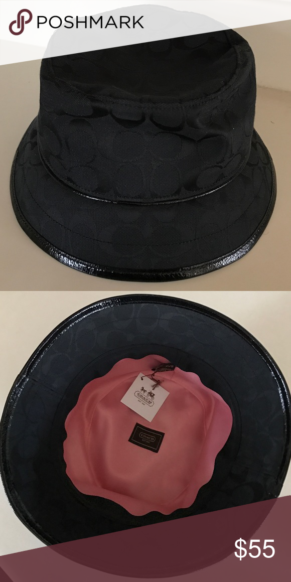20ae08b9bcf52c Coach Brand New Signature Bucket Hat Brand new Coach signature hat. Black  with patent leather trimming. Fully lined. Size: P/S. Never worn.