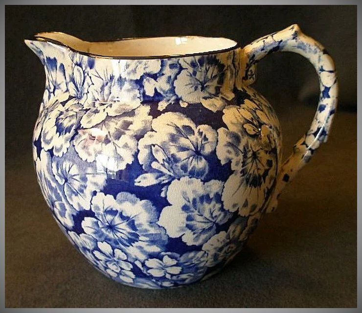Buffalo Pottery Geranium Pattern Jug Pitcher In Cobalt Blue Blue Pottery White Pottery Blue And White China