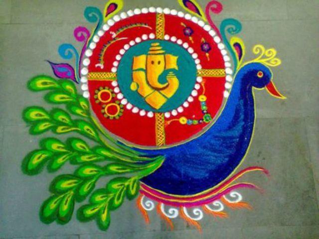 Pinterest also best ganesha rangoli designs ganpati with peacock in rh
