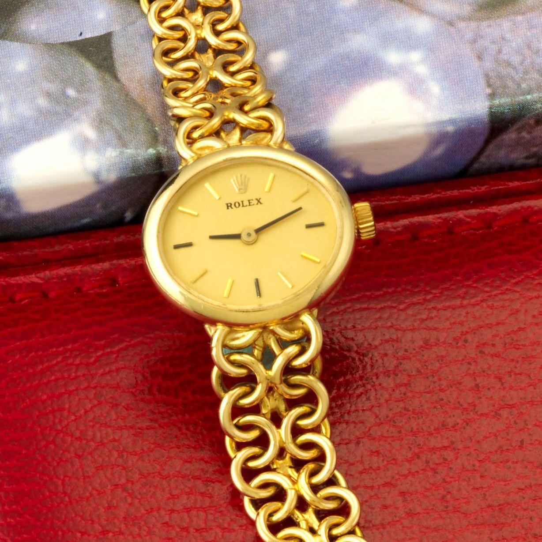 Womenus k yellow gold rolex bracelet watch with rolex boxes