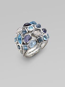 David Yurman-diamond, blue topaz, London blue topaz & sterling silver ring