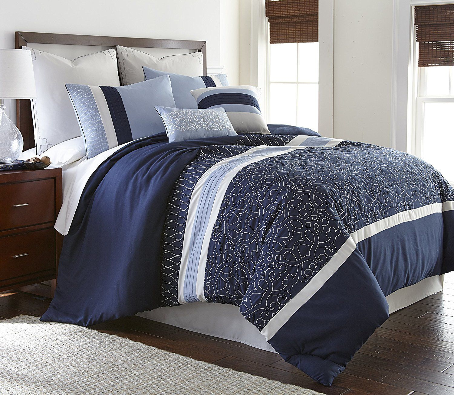 blue comforter set bachelor 8 piece modern embroidered down