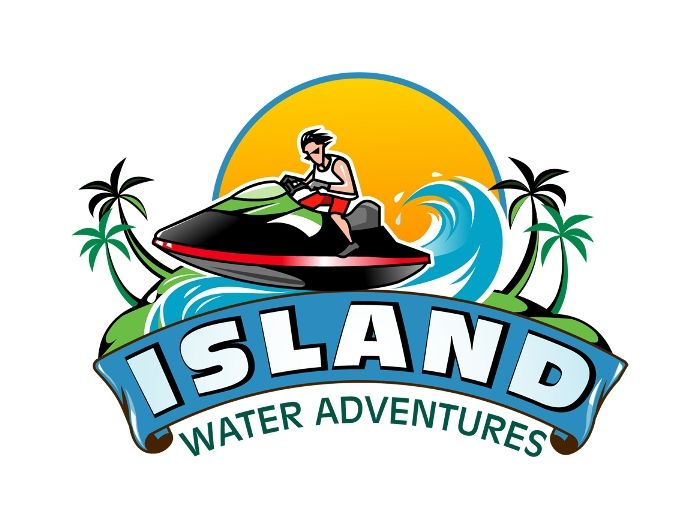 island water adventures new logo design with a jet ski and sunset