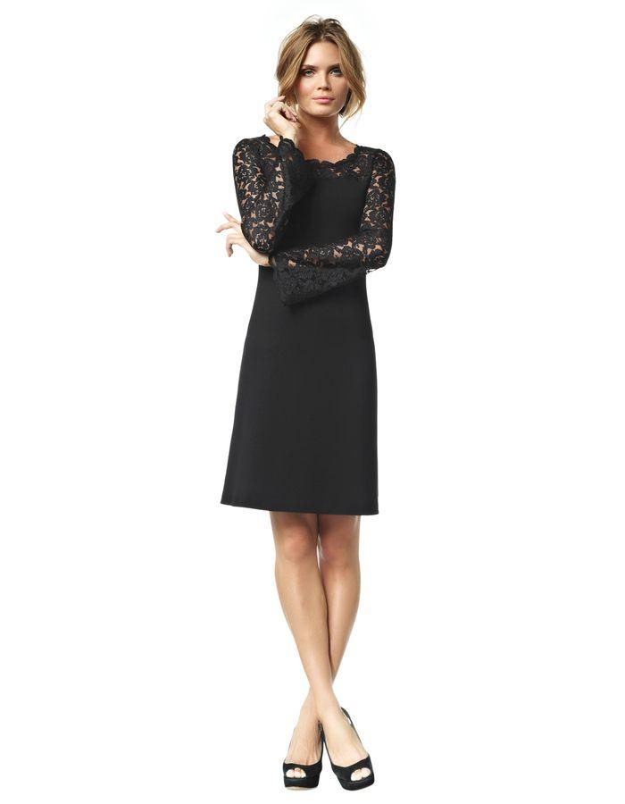 Favoriete Emma - zwart - Zware jersey & kanten jurk   LaDress   Mode @OS43
