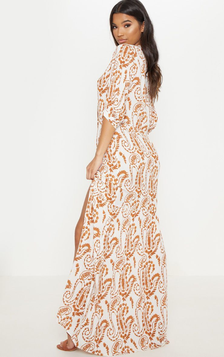0a9714c578 White Paisley Print Button Front Split Maxi Dress in 2019 | Products ...
