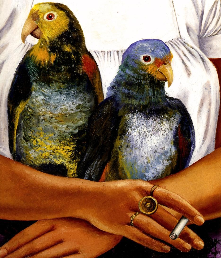 1941 Frida Kahlo Moi et mes Perroquets, Détail les deux ...