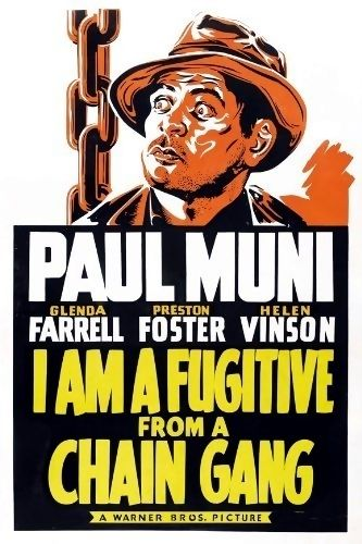 "I Am a Fugitive from a Chain Gang is a 1932 crime/drama film starring Paul Muni as a wrongfully convicted convict on a chain gang who escapes to Chicago. The film was written by Howard J. Green and Brown Holmes from Robert Elliott Burns's autobiography, I Am a Fugitive from a Georgia Chain Gang! In 1991, the film was selected for preservation in the United States National Film Registry by the Library of Congress as being ""culturally, historically, or aesthetically significant""."