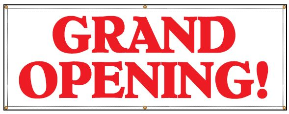 Buy Our Grand Opening Banner With Red Text From Signs World Wide Grand Opening Banner Grand Opening Banner