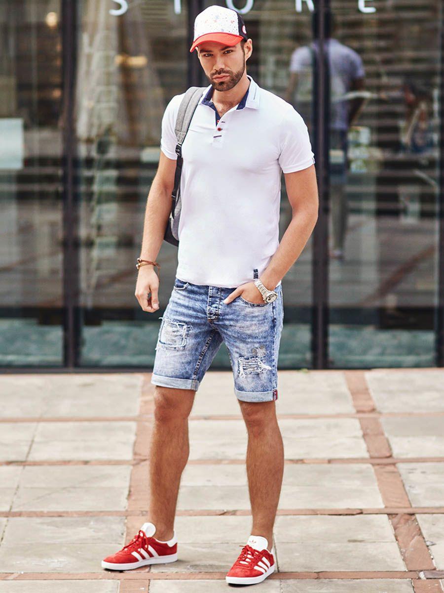 Stylizacja Nr 286 Czapka Z Daszkiem Zegarek Bransoletka Skorzana Koszulka Polo Krotkie Spodenki Hipster Outfits Fall Fall Outfits Men Fall Outfits Women 20s