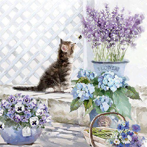 """Photo of Serviette """"Kätzchen und Blumen"""""""
