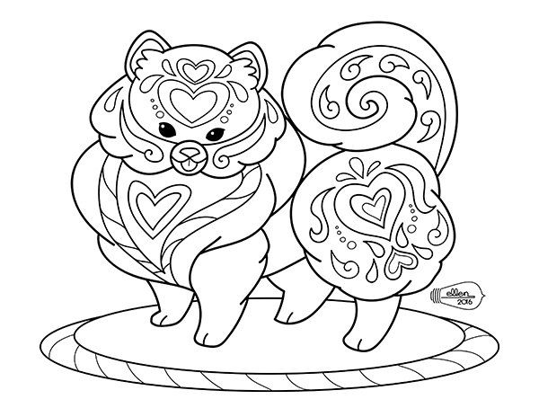 Cute Decorated Pomeranian Adult Coloring Page Digital Stamp