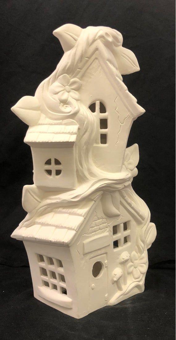 Ceramic Fairy House Ready To Paint Fairy House Mandevilla In 2020 Clay Fairy House Ready To Paint Ceramics Fairy House