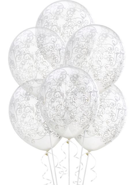 Clear Filigree Balloons 6ct Party City Wedding Balloons Party