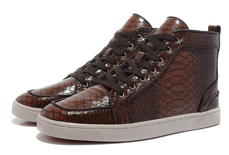 c294dc8d945c Christian Louboutin Rantus Flat Python Leather High Top Mens Sneakers Brown