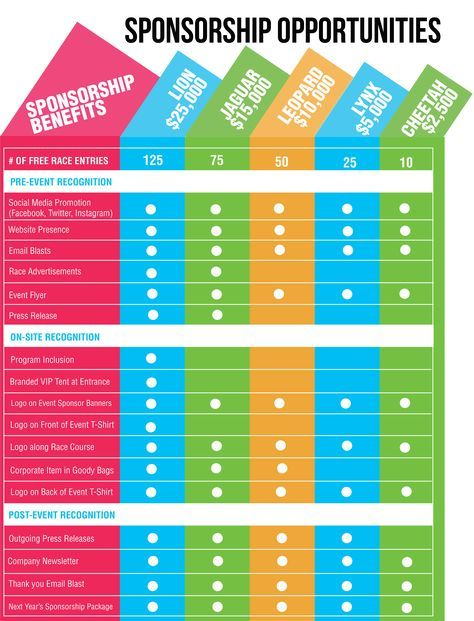 Love This Sponsorship Chart Both The Design And The Array Of - Sponsorship brochure template