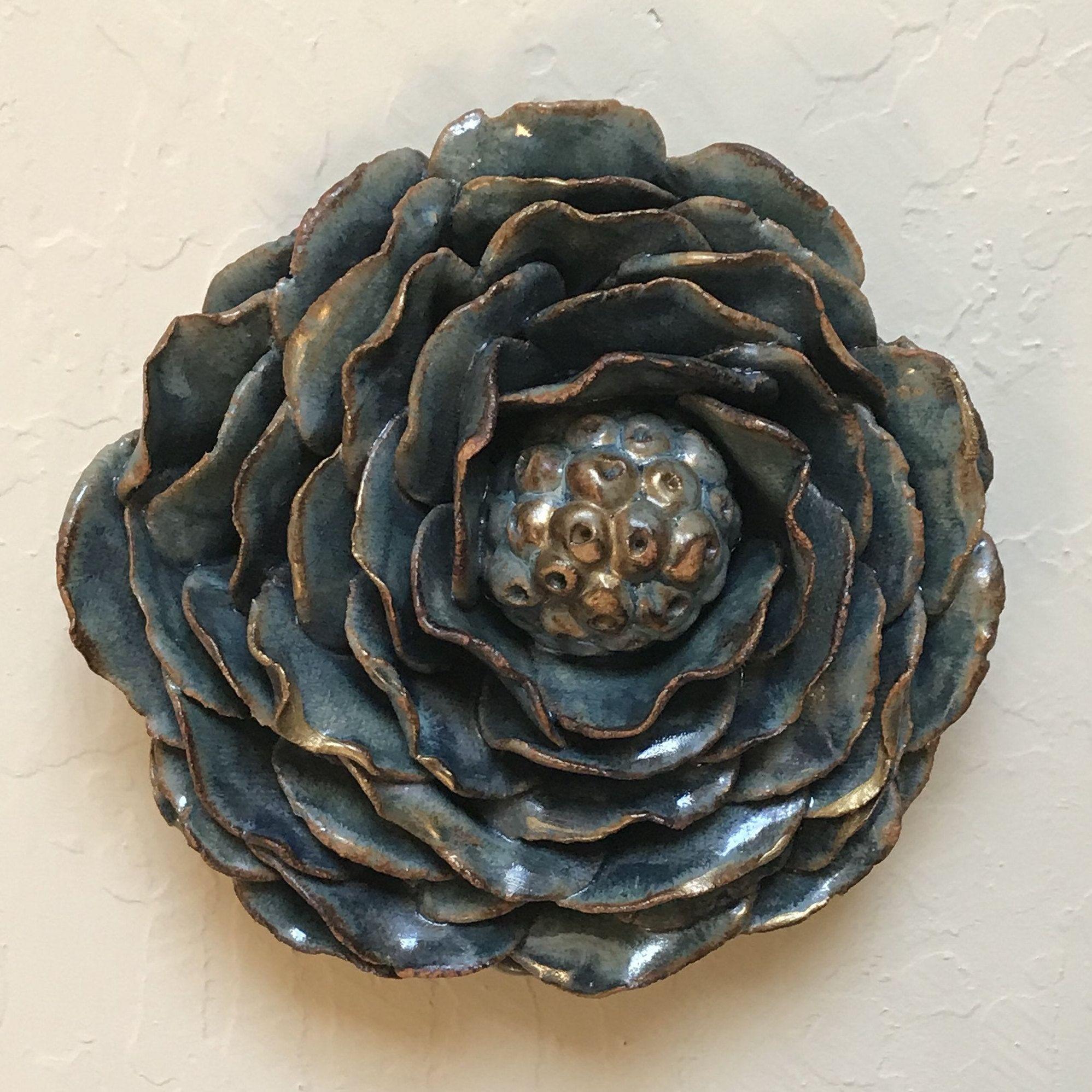 Ceramic flower wall tile blue flower wall art organic design