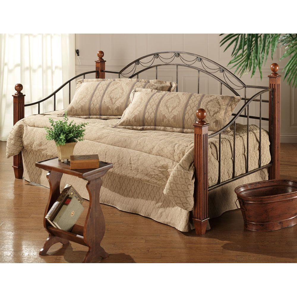 Camelot Wood Metal Daybed Iron Day Beds Trundle Daybeds Guest Bedroom Furniture