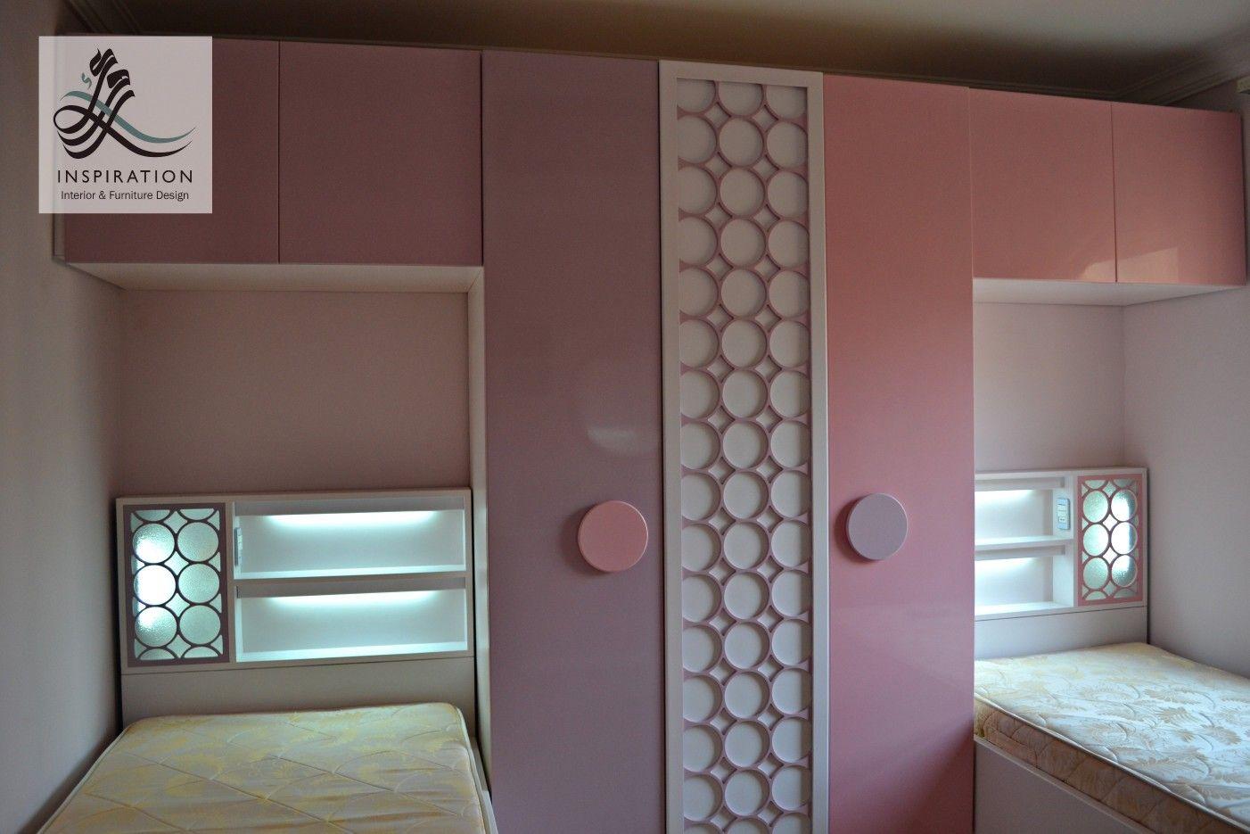 Pink and purple girl bedroom. Bed lamp . Wardrobe. Circles ...