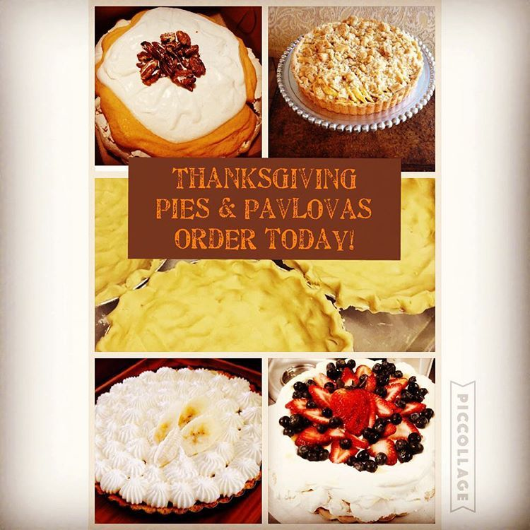 Thanksgiving PIES & PAVLOVAS from The Baking Hive will be the star of your Thanksgiving Feast!! Call or come in the bakery to place your order!! Pavlova's (9) $30 Pavlova's are delicious meringue bases (gluten free) that are crunchy on the outside and get soft and chewy as you work your way in. We will be doing two flavors for Thanksgiving: -Pumpkin Pavlova: pavlova topped w our famous pumpkin spice filling cinnamon whipped cream and candied pecans. -Traditional Pavlova: pavlova topped with sof #pavlovatoppings