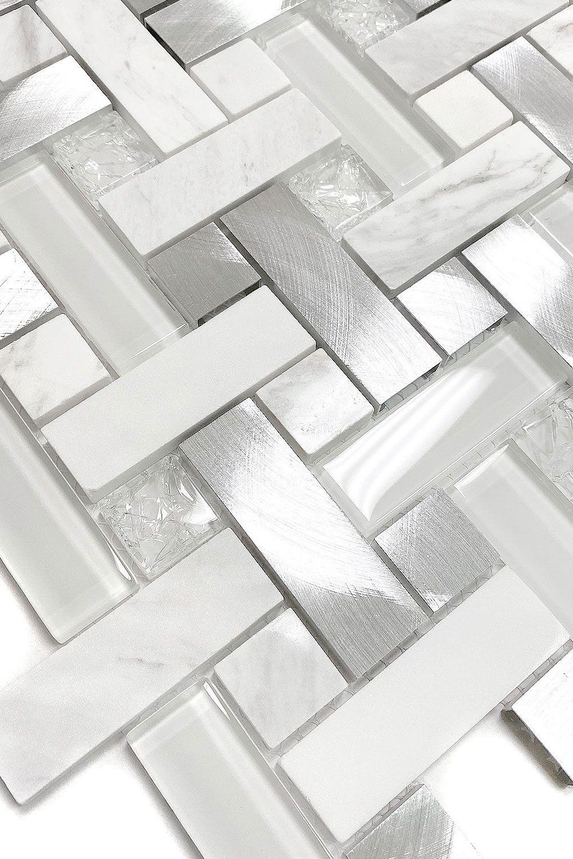 - 5+ White (Glass & Metal) Backsplash Tile (Luna Pearl Granite