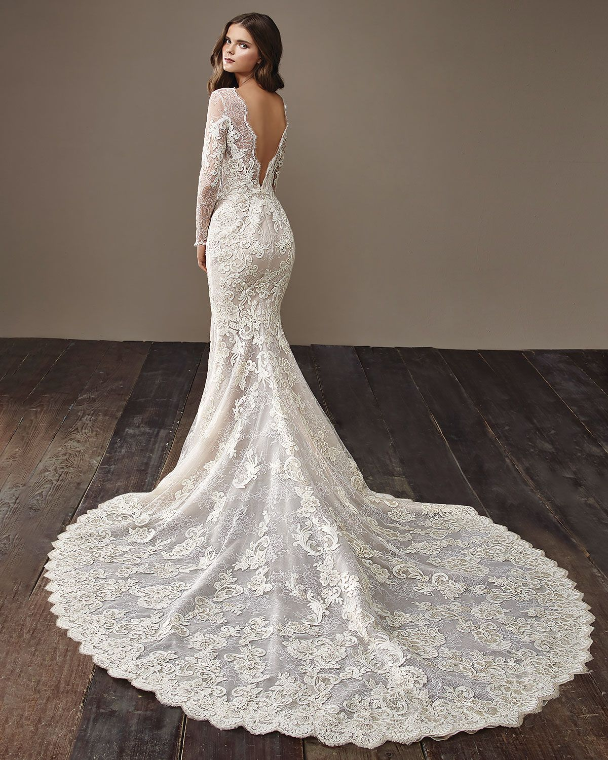 Fitted Lace Long Sleeve Wedding Dress With A Long Train And Low