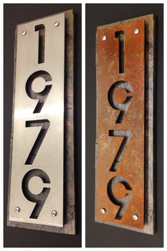 Wood Metal Address Sign Sheet Google Search Metal House Numbers House Numbers Modern House Number