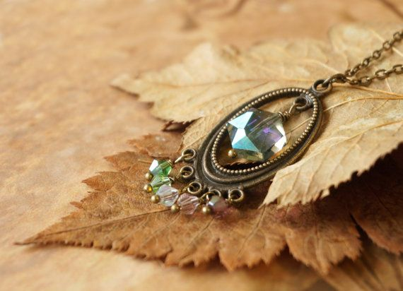 Bohemian Long Green Blue Gray Pink Crystal Beaded by ByLEXY