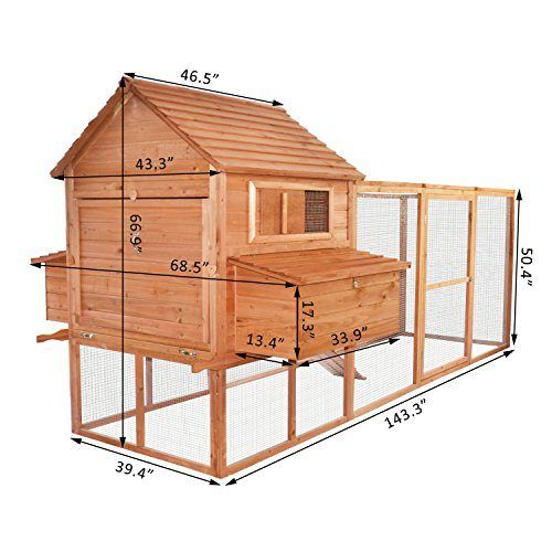 "Pawhut 144"" Large Backyard Hen House Chicken Coop W/ Long"
