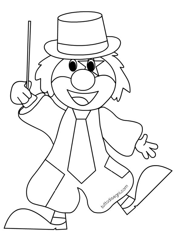 disegni di carnevale per bambini pagliaccio con cappello On disegno pagliaccio colorato