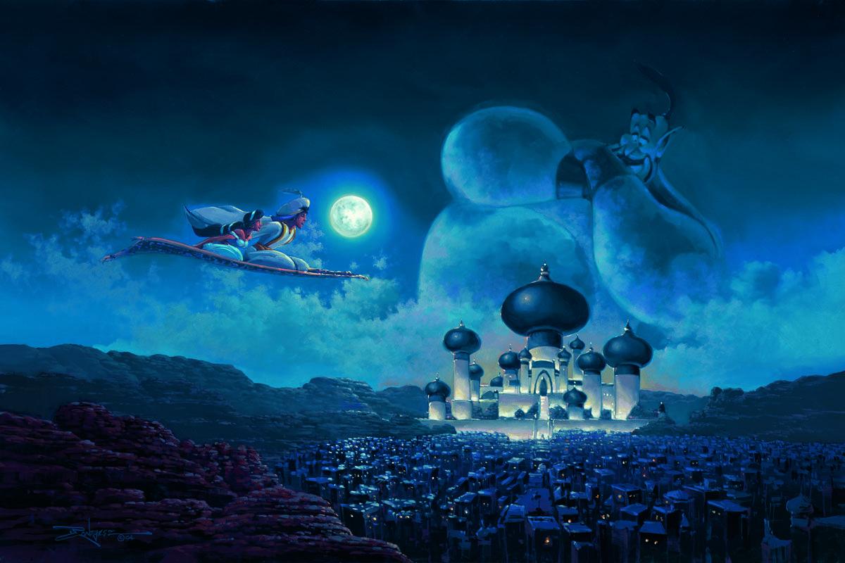 Flight Over Agrabah Embellished Giclee on Canvas by Rodel Gonzalez