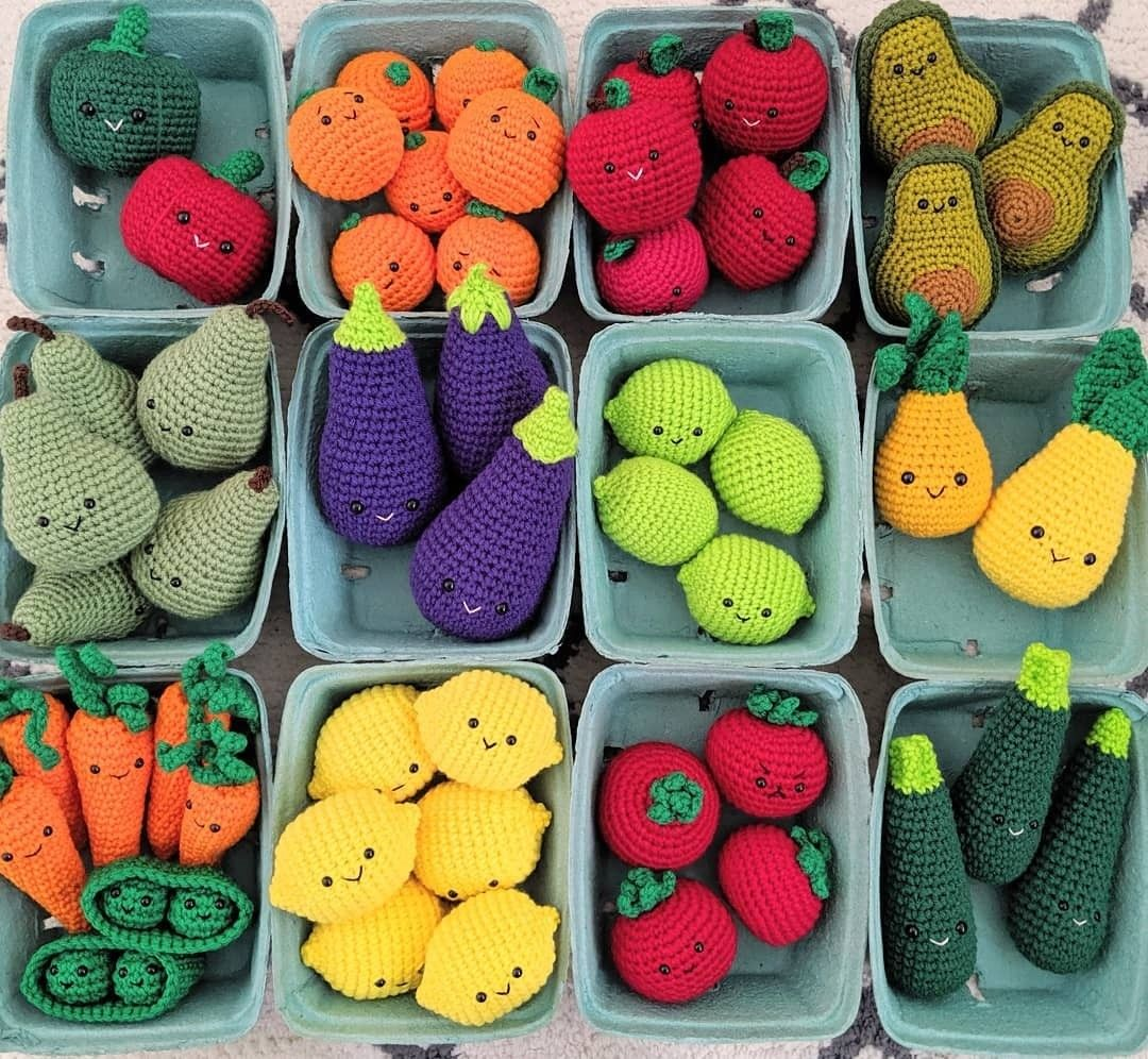Crochet vegetables and fruits pattern Amigurumi Food. Crochet Play Food  Pattern, crochet veggies pattern, an… | Amigurumi pattern, Knit decor, Easy  crochet patterns | 996x1080
