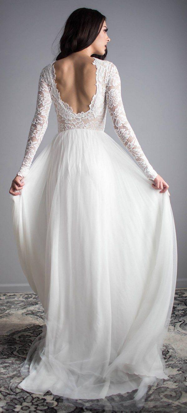 Scoop Back Long Sleeve Wedding Dress 13 #weddings #dresses