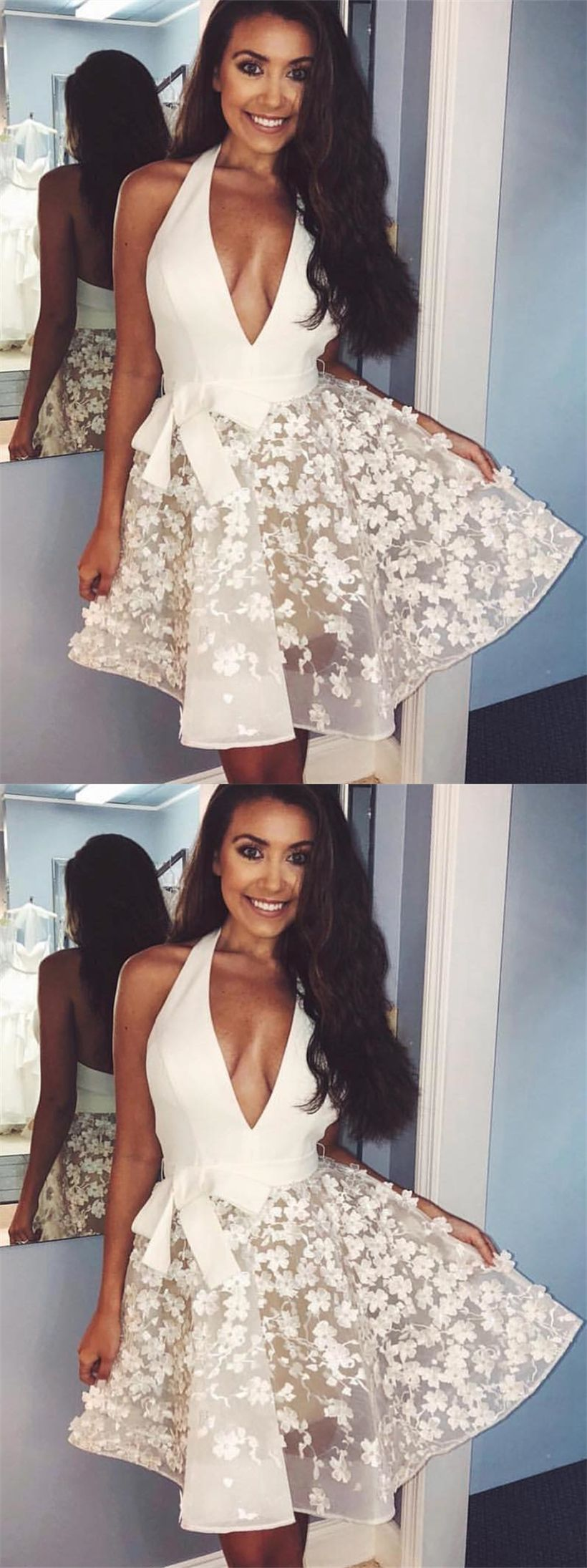 Aline halter backless aboveknee white homecoming dress with