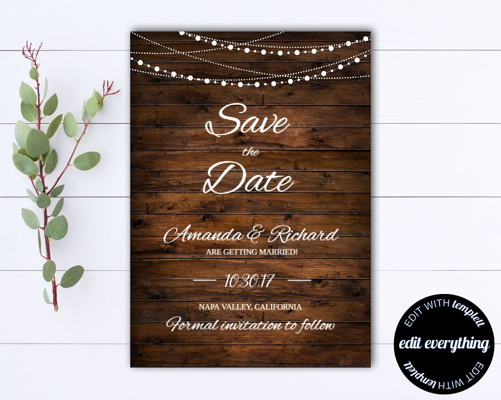 Country Save The Date Wedding Template DIY Save The Date Card - Diy save the dates templates