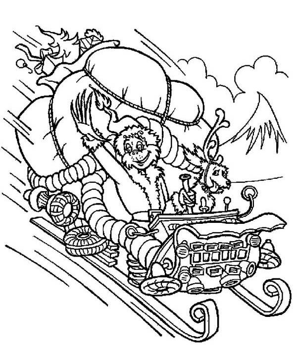 The Grinch Stolen Santas Sleigh Coloring Page Download