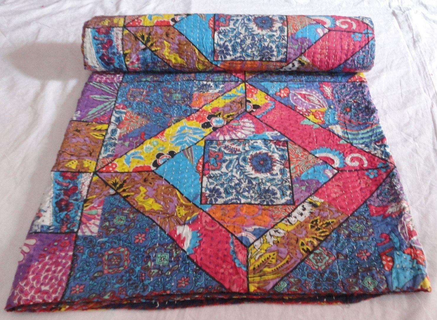 Indian Handmade flower printed Kantha Quilt Throw Ralli designer printed Gudari bed sheet floral kantha throw bedspread by textileszone on Etsy