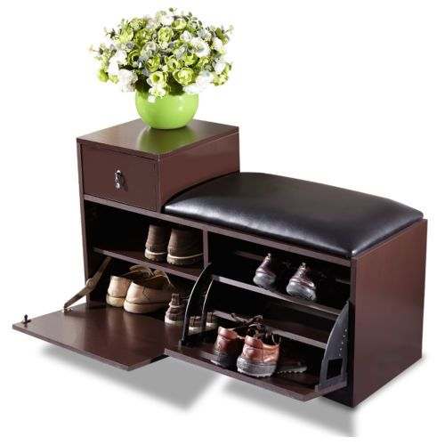 Brown Wood Shoe Bench Cabinet Rack With Ottoman Seat Closet Shelf
