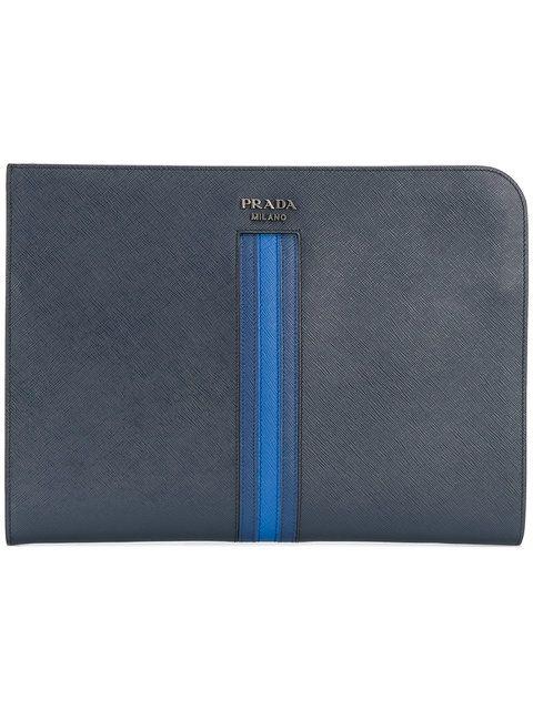 e1762c656fe6 PRADA striped portfolio clutch. #prada #bags #leather #clutch #hand bags #