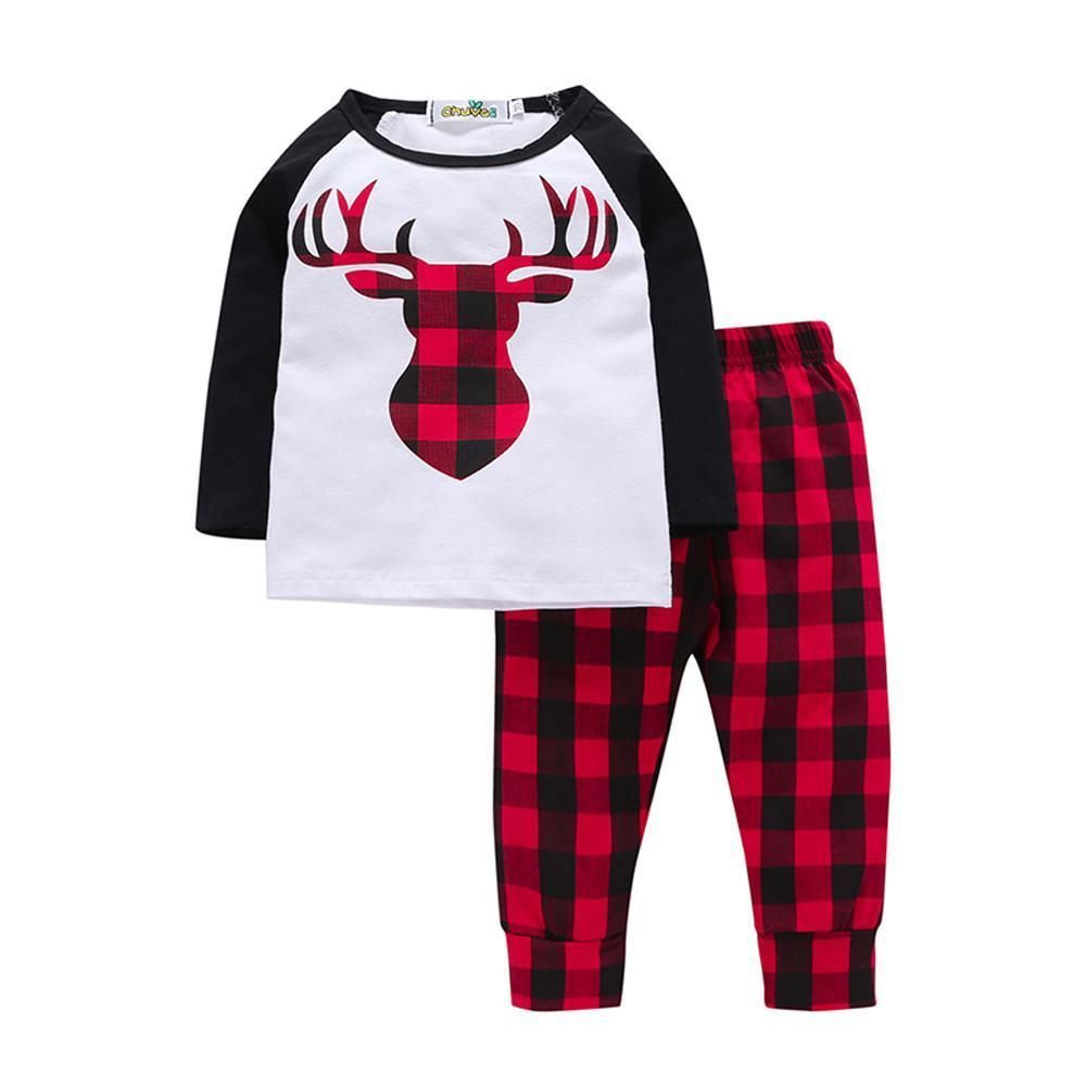 Toddler Kids Baby Girls Outfits Clothes T-shirt Tops Red Plaid Pants 2PCS Sets