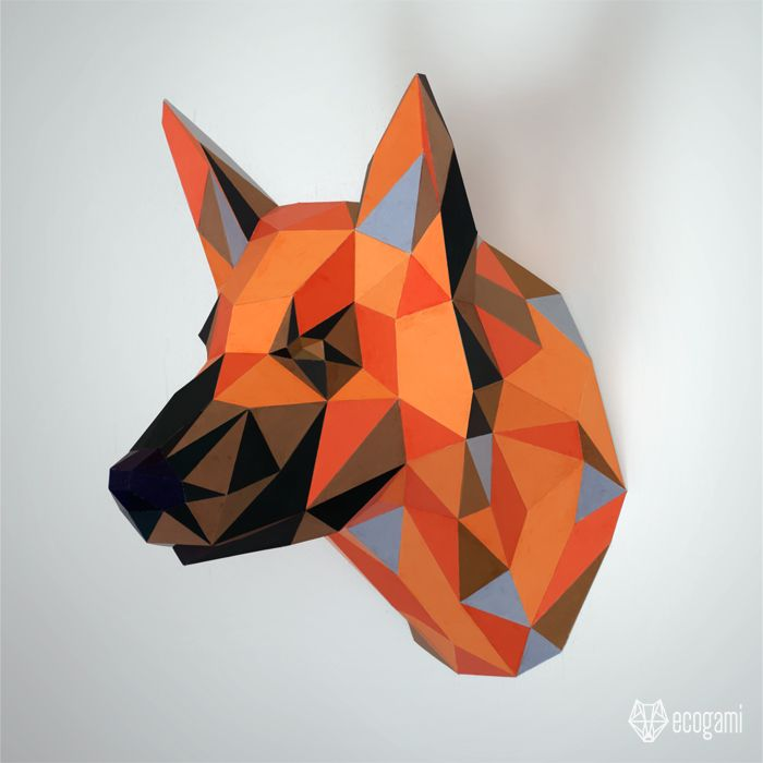 Diy Faux Taxidermy Wall Mount 3d Papercraft Sculpture Printable Pdf Pattern Low Poly Animal Assembly Mak German Shepherd Art Paper Crafts Paper Sculpture