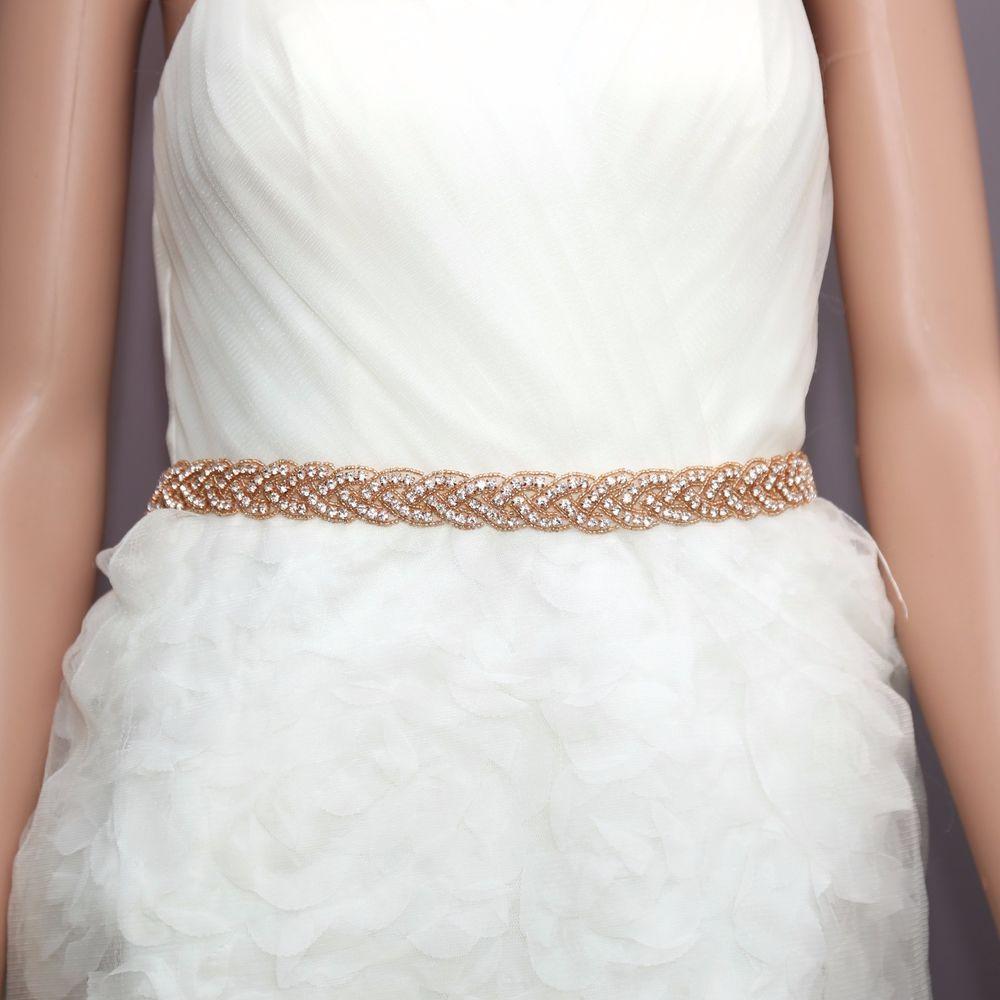 Bridal Wedding Dress Gown Applique Trim Rose Gold Rhinestone Crystal ...