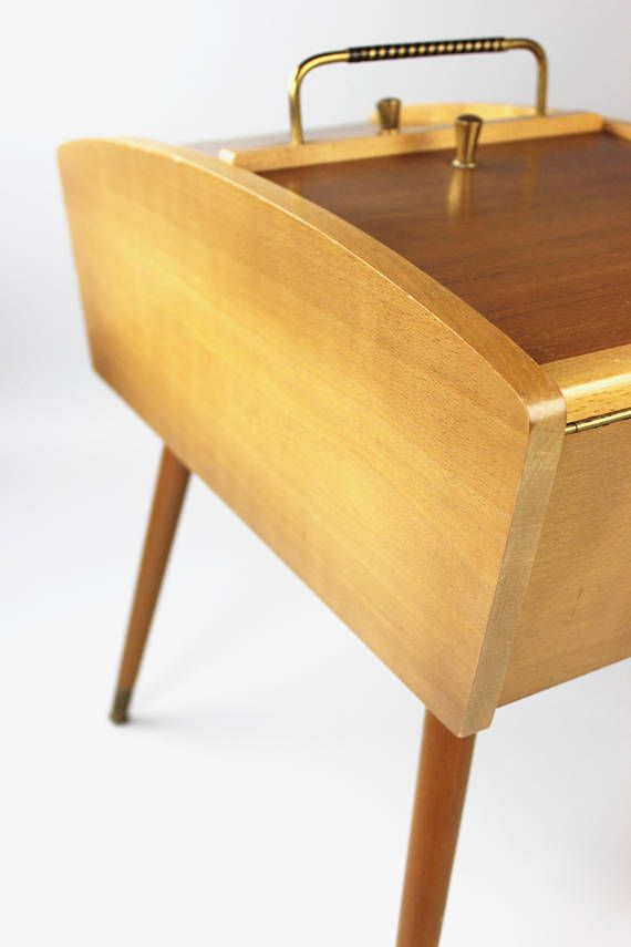 Mid century sewing box, sewing box, wooden sewing table, sewing ...