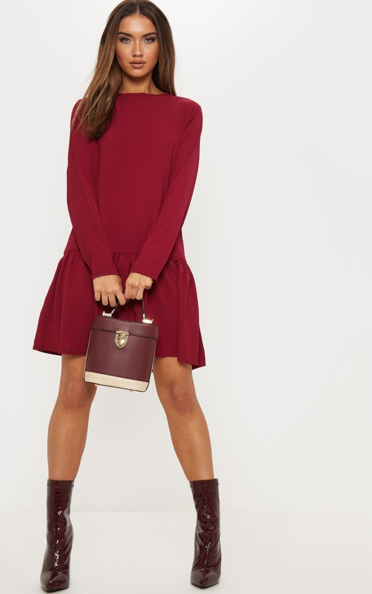 bc556f44488 Maroon Long Sleeve Frill Hem Shift Dress