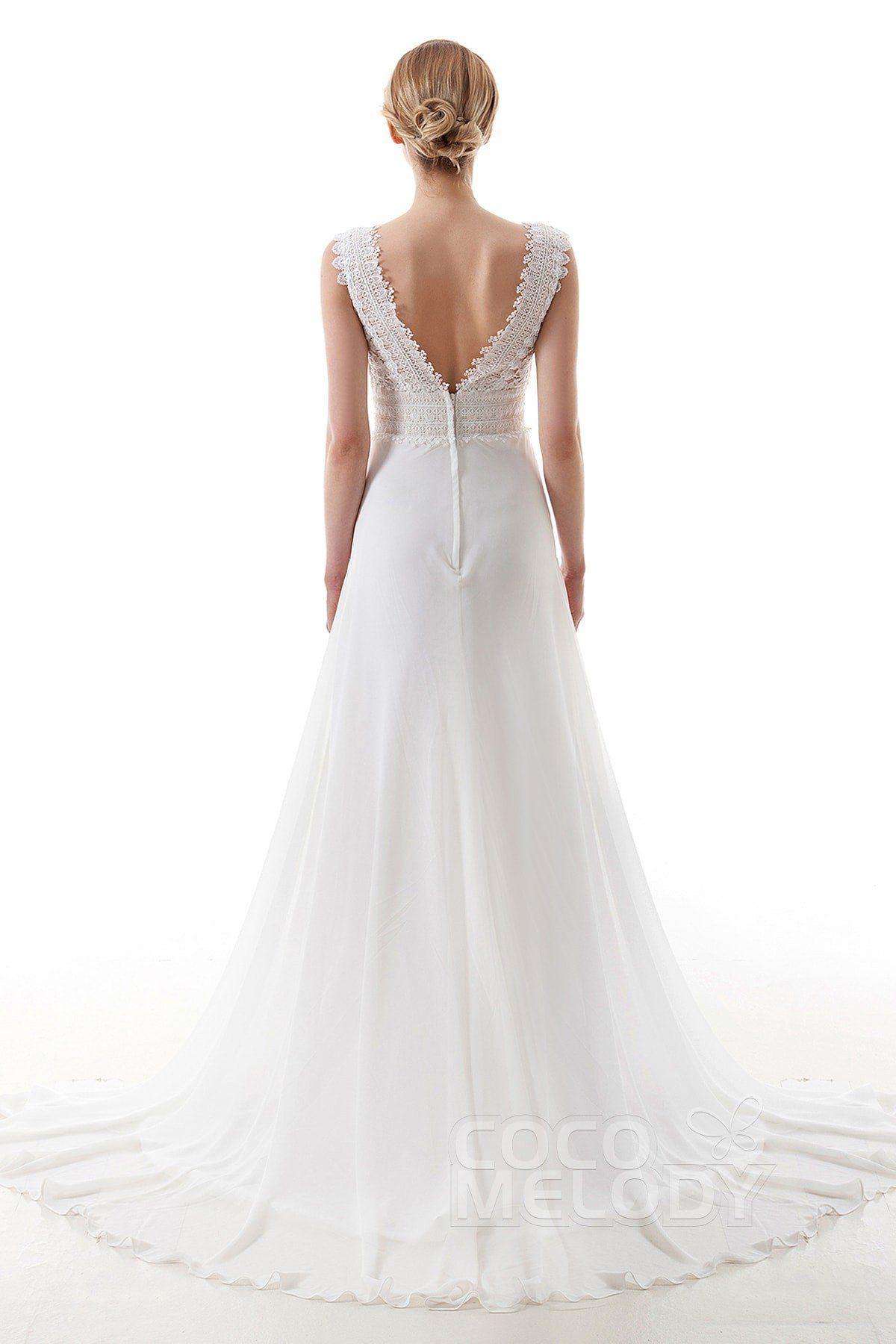[ USD 349 ] SheathColumn Train Lace and Chiffon Wedding