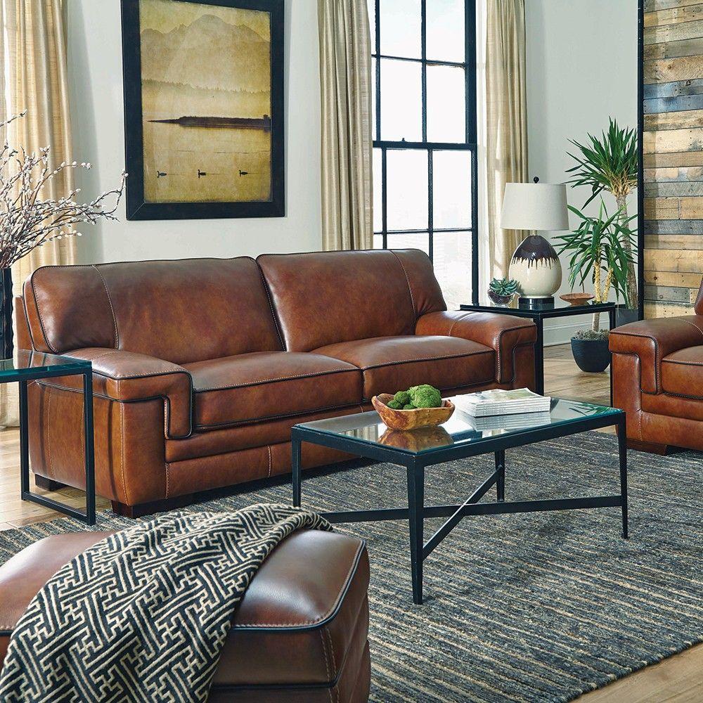 - Chestnut Stampede Sofa Leather Sofa Living Room, Living Room