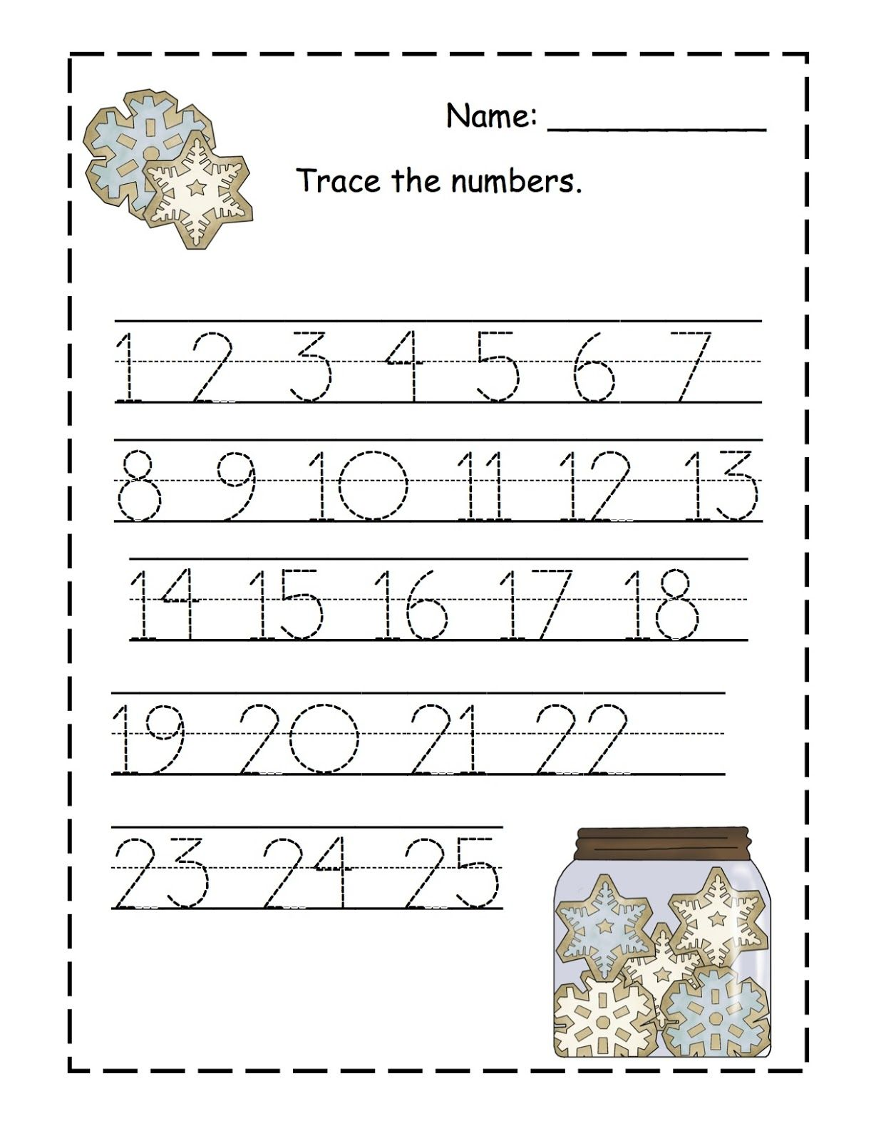 Cute Snowflake Number Tracing Worksheet