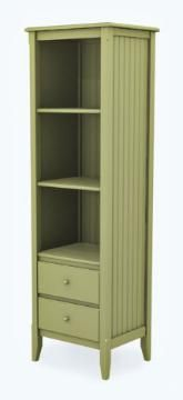 Cottage Tall Narrow Bookcase With Two Drawers Avocado