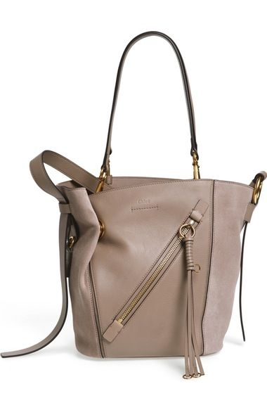 ChloÉ Small Myer Double Carry Calfskin Leather Suede Tote Chloé Bags Shoulder Hand