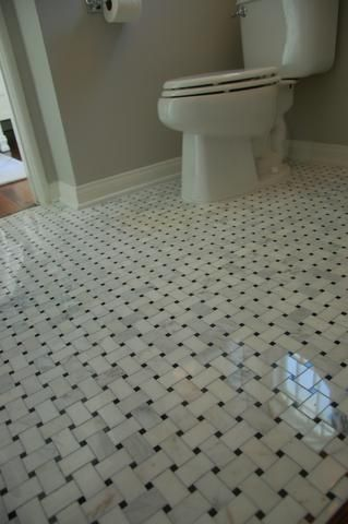 1 2 Arabescato Carrara With Black Marble Basket Weave Pattern